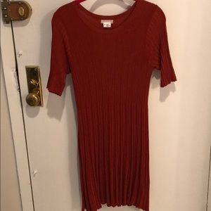 Ribbed Sweater Dress - Rust
